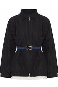 PRADA Belted layered silk-faille jacket