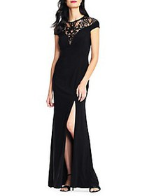 Adrianna Papell Embellished Sequin Gown BLACK
