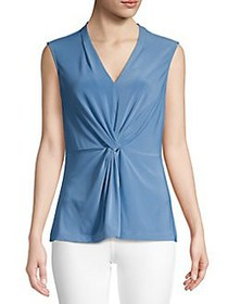 Donna Karan Knotted Stretch V-Neck Top POOL BLUE