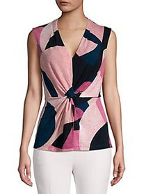 Donna Karan Tie-Front Colorblock Top CERISE MULTI