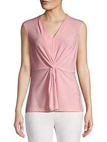 Donna Karan Knotted Front Stretch Top DOGWOOD