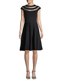 Eliza J Cap-Sleeve Fit-&-Flare Dress BLACK
