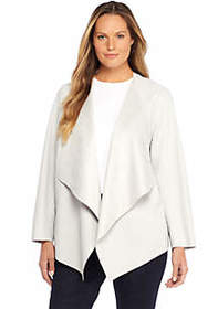 The Limited Plus Size Open Drape Front Faux Leathe