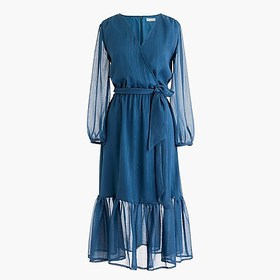 J. Crew Point Sur faux-wrap dress in Lurex® crinkl