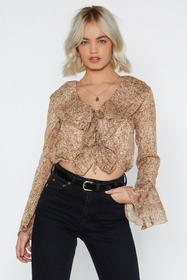 Nasty Gal Don't Snake It to Heart Ruffle Blouse