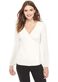 The Limited Petite Long Sleeve Surplice Rouche Sid