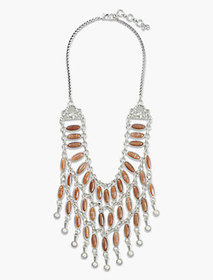 Lucky Brand Pink Stone Drama Collar Necklace