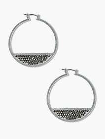 Lucky Brand Silver Pave Hoops