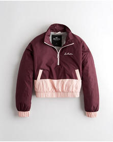 Hollister Crop Fleece-Lined Half-Zip Windbreaker,