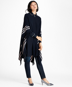 Brooks Brothers BB#1 Striped Wool Poncho