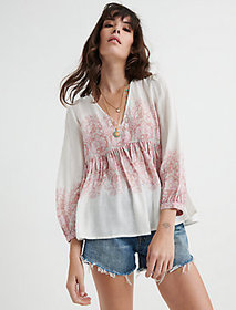 Lucky Brand Mixed Paisley Print Top