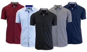 Men's Short Sleeve Slim-Fit Casual Dress Shirt (3-