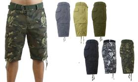 Mens 3 Pack Belted Cargo Pocket Shorts