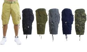 Men's Belted Multi-Pocket Cargo Utility Shorts (2-