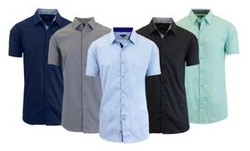 Men's Slim-Fit Short Sleeve Dress Shirts. Extended