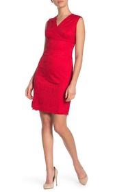 Sharagano Sleeveless Lace Sheath Dress (Petite)