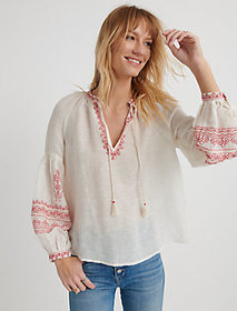 Lucky Brand Embroidered Yoke Peasant Top