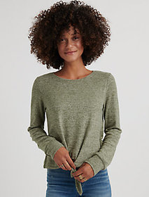 Lucky Brand Tie Front Cloud Jersey Top.