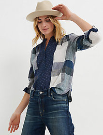 Lucky Brand Mixed Plaid Popover