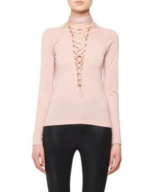 TOM FORD Lace-Up Long-Sleeve Cashmere-Silk Knit To