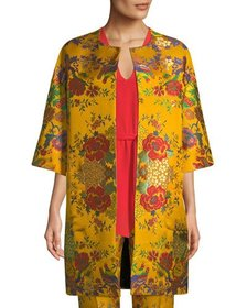Etro Chinoiserie Floral-Jacquard 3/4-Sleeve Topper