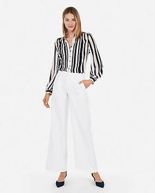 Express striped covered button front shirt