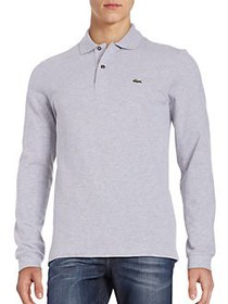 Lacoste Long-Sleeve Pique Polo SILVER GREY