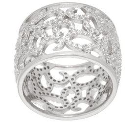 Italian Silver Sterling Crystal Scroll Design Band