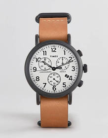 Timex Weekender chronograph leather watch 40mm exc