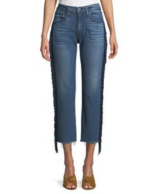 3x1 W3 Higher Ground Straight Crop Jeans with Frin