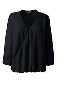 Lands End Women's 3/4 Sleeve Wrap Crepe Blouse