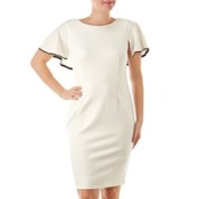 GLAMOUR Ruffle Sleeve Sheath Dress with Piping