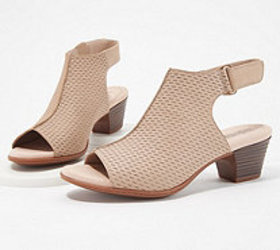 Clarks Nubuck Leather Perforated Heeled Sandals- V