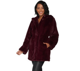 """As Is"" Dennis Basso Zip Front Faux Fur Coat with"