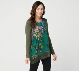 LOGO by Lori Goldstein Printed Knit Top with Lace