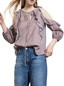 French Connection Elao Voile Cold-Shoulder Ruffle