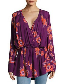 Free People Floral Surplice Blouse PLUM