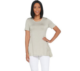 LOGO by Lori Goldstein Knit Top with Embroidered M