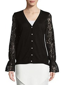 Karl Lagerfeld Paris Lace-Accented Cardigan BLACK