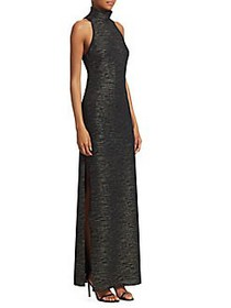 Halston Heritage Metallic Knit Evening Gown METALL
