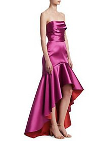 Marchesa Notte Strapless Two-Tone High-Low Gown FU