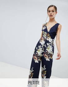 Hope and Ivy Petite floral wide leg jumpsuit