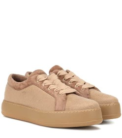 Max Mara Suede-trimmed cashmere sneakers