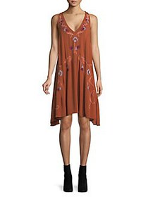 Free People Adelaide Embroidered Shift Dress TERRA
