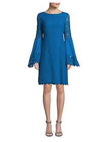 Nue By Shani Floral Lace Bell-Sleeve Dress BLUE JE
