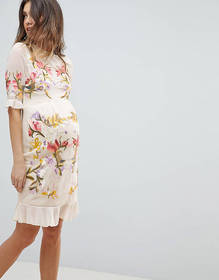 Hope & Ivy Maternity Premium All Over Floral Embro