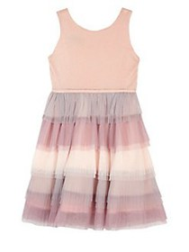 Ally B Girl's Ruffled Sleeveless Dress ROSE
