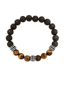 Lord & Taylor Stainless Steel Lava, Tiger Eye Bead