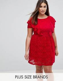 Rage Plus Lace Skater Dress With Frill