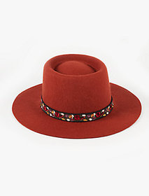 Lucky Brand Floral Trim Wool Hat-rust